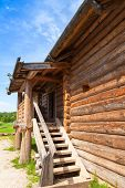 pic of stairway  - Russian rural wooden architecture example old house fragment with stairway - JPG