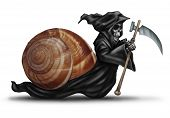 image of grim-reaper  - Slow aging health care concept as a snail shell with a grim reaper character moving slowly as a health care metaphor for delaying death and living a healthy longer life - JPG