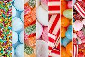 stock photo of candy  - photo collage of colorful candies and jellies - JPG