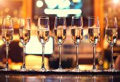 image of flute  - champagne flutes in holiday in the restaurant - JPG