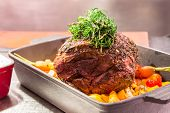 foto of porterhouse steak  - Gourmet Main Entree Course Grilled Rib - JPG