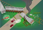 Постер, плакат: Illustration Presentation of a Train Accident Rescue Operation