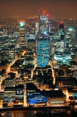 stock photo of london night  - London aerial view panorama at night with urban architectures - JPG