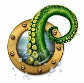 stock photo of creatures  - Sea Monster concept as a scary green tentacle creature arm breaking through the glass of a ship porthole window as a fantasy concept for travel insurance danger and unforseen risk during a cruise journey - JPG