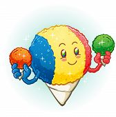 foto of orange  - A cheerful smiling snow cone cartoon with raspberry - JPG