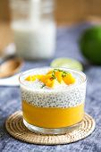 picture of mango  - Chia in homemade soy milk with mango puree and mango chunk - JPG