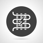 stock photo of floor heating  - Flat black round vector icon with white silhouette element of electric heated floor with lightening on gray background - JPG