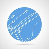 picture of spearfishing  - Abstract blue round vector icon with white line elements of speargun for underwater hunting on gray background - JPG