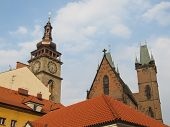 pic of red roof  - Three ancient town historical towers and red roofs - JPG