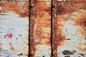 pic of scrap-iron  - Background of old wood planks with pealing distressed paint - JPG