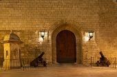 foto of royal palace  - Entrance door Almudaina Royal Palace in Palma de Mallorca Balearic Islands Spain - JPG