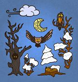 picture of snow owl  - vector illustration set of funny hand drawn snow - JPG