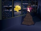 picture of warlock  - Dark witch in long black dress on balcony night sky with full moon - JPG