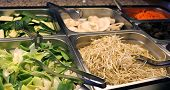 image of bean sprouts  - buffet restaurant with tray of bean sprouts and bamboo - JPG