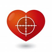 picture of crosshair  - Illustration of a heart icon with a crosshair - JPG