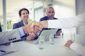 image of interview  - Business people shaking hands at interview in the office - JPG