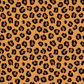image of leopard  - vector colored seamless animal pattern of leopard - JPG