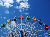 picture of ferris-wheel  - Ferris wheel in the spring amusement park awaits visitors - JPG