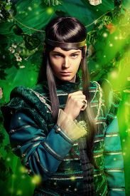 stock photo of fairy  - Beautiful male elf in the magic forest - JPG