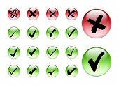 stock photo of check mark  - 3d collection of check in and x symbol - JPG
