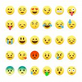 Постер, плакат: Set of cute smiley emoticons emoji flat design