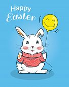 Постер, плакат: Happy Easter Bunny Design Flat