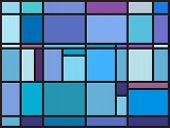 Постер, плакат: Multicolored Stained Glass Window With Irregular Block Pattern