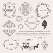 Mega set collections of vintage design elements poster