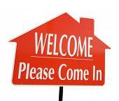 Постер, плакат: Добро пожаловать Приходите в недвижимости знак изолированные на белом