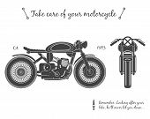 Постер, плакат: Vintage motorcycle infographic Cafe racer theme