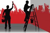 image of people work  - two painter painting a room in red color people at work - JPG