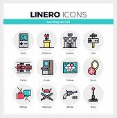 Постер, плакат: Gaming Genres Linero Icons Set