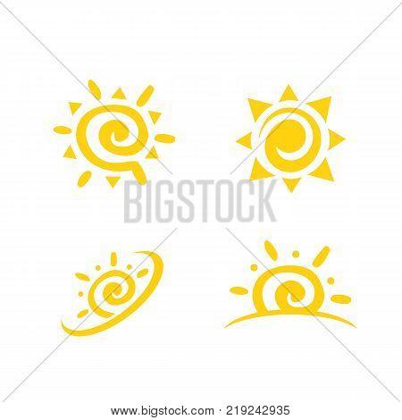 poster of Sun icon set. Sun burst star logo icon. Sun star, summer, nature, sky, summer. Sunshine sun logo. Sun icon. Sun logo. Star vector icon logo. Sun silhouette. Sun isolated vector logo, sun logo