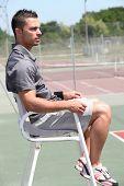 stock photo of umpire  - Tennis umpire - JPG