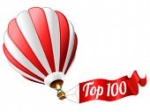 top 100 icon - isolated hot air balloon with sign
