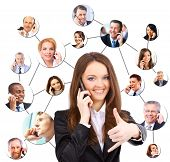 stock photo of people talking phone  - A group of people talking on the phone - JPG
