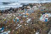 The Problem Of Pollution And Ecology Of The Sea Shore And The Ocean. Garbage On The Coastline And In poster