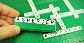 picture of aspergers  - Hand showing the word Asperger  - JPG