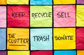 declutter concept (keep, recycle, trash, sell, donate - handwriting on color sticky notes poster