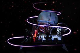 stock photo of time machine  - Time Machine in the dark space with red light trails - JPG