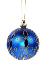 picture of christmas ornament  - isolated blue christmas ornament - JPG