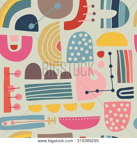 poster of Abstract Scandinavian Geometric Seamless Vector Pattern. Modern Vintage Stylish Bauhaus Background D