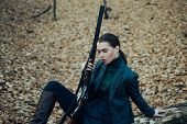 Military Fashion. Achievements Of Goals. Female Hunter In Forest. Successful Hunt. Hunting Sport. Gi poster