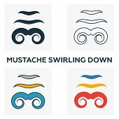 Mustache Swirling Down Icon Set. Four Elements In Diferent Styles From Barber Shop Icons Collection. poster