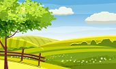 Felds And Hills Rural Landscape. Cartoon Countryside Valley With Green Hills Trees Flowers Blue Sky  poster