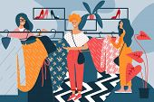 Women With Dresses In Hand In Clothing Store. Vector Illustration. Free Time. Development And Hobby. poster