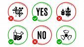 Chemistry Lab, Chemistry Dna And Gluten Free Icons Simple Set. Yes No Check Box. Chemical Hazard Sig poster