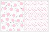 Cute Irregular Dotted Seamless Vector Patterns. Black Tiny Dots With Pink Ones Isolated On A White B poster