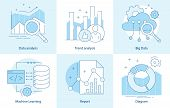 Modern Thin Line Design For Analysis, Machine Learning Website Icons. Vector Illustration Concept Fo poster