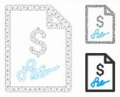 Mesh Invoice Page Model With Triangle Mosaic Icon. Wire Carcass Triangular Mesh Of Invoice Page. Vec poster